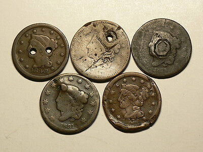 US, Lot Of 5 Large Cents, 1824 to 1854, All Culls  #G6379
