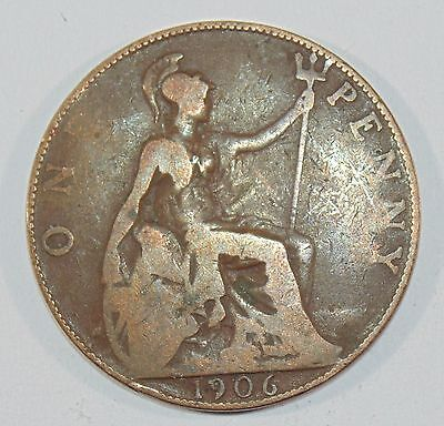 1906  One Penny King Edward VII  English 1 Penny Coin