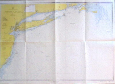 VINTAGE NAUTICAL CHART MAP N.Y. LONG ISLAND NANTUCKET SHOALS to FIVE FATHOM BANK