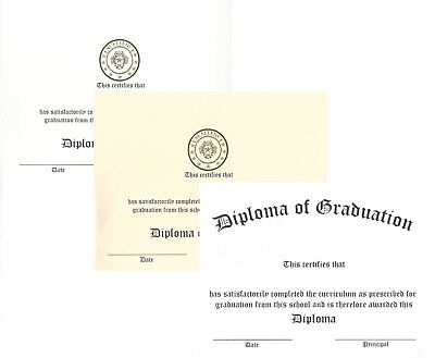 White or Ivory Raised-Print Graduation Diploma Certificate Cardstock - 10 pack