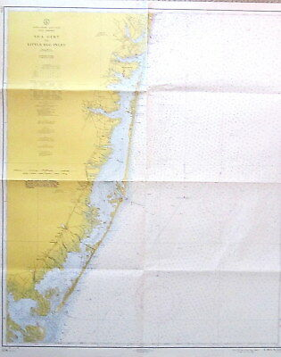 VINTAGE NAUTICAL CHART MAP NEW JERSEY SEA GIRT to LITTLE EGG INLET