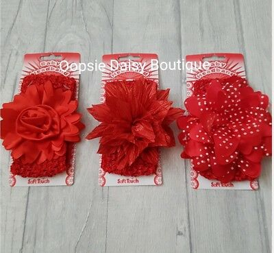 ☆ Baby Girls Gorgeous Red Headbands 3 Styles Available ☆ Christmas Party