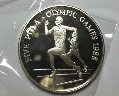 BOTSWANA 5 Pula Olympic games silver 1988 RARE  EXTREME  *