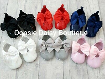 ☆ Baby Girls Gorgeous Patent Ribbon Bow Shoes ☆ Christening Wedding Occasion ☆