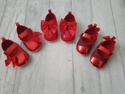 ☆ Baby Girls Gorgeous Patent Red Ribbon Bow Shoes Party Occasion Shoes ☆