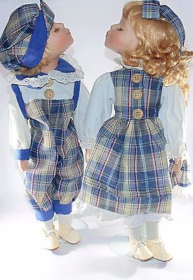 "So Cute Boy and Girl Kissing ~ Dolls 12"" with Porcelain Boxed"