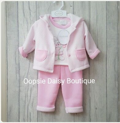 ☆ Baby Girls Lovely 3 Piece Outfit - Jogger Style Fleecy Lined ☆