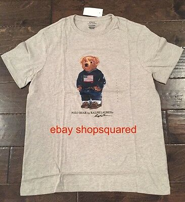 5af776cd NEW NWT RALPH Lauren Polo Bear American Flag Usa Mens Tee T Gray Sz Large L  - $54.95 | PicClick