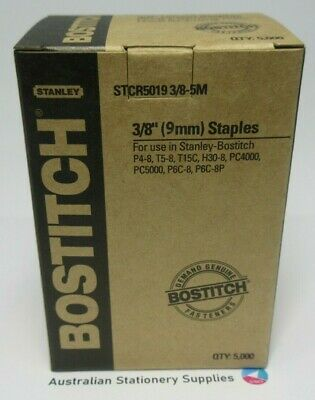 1 x Bostitch Tacker Staples STCR5019 3/8 9mm 1000 per Box free post
