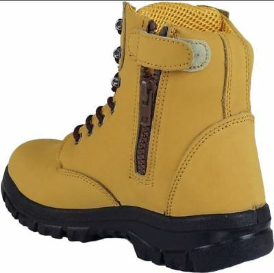 work boots safety toe slip resistant zip side lace 150mm high ankle TEAMbootshoe