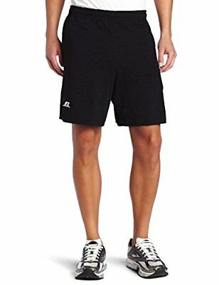 NEW Russell Athletic Mens Cotton Baseline Short with Pockets Black X Large