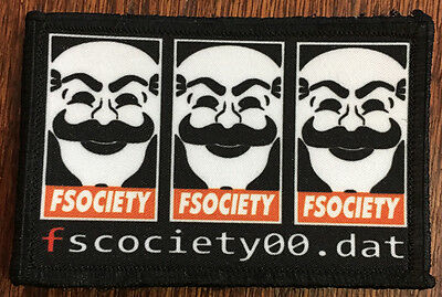 FSociety00.Dat Mr Robot Morale Patch Tactical Military Army Badge Hook Flag