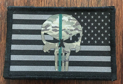 Punisher Border Patrol Thin Green Line Morale Patch Tactical Military Army USA