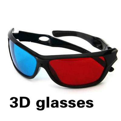 1x Black Frame Red Blue 3D Glasses For Dimensional Anaglyph TV Movie Game DVD