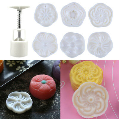 3D Round Moon Cake Pastry Mold Hand Pressing Baking 1 Barrel 6 Blossom Pattern