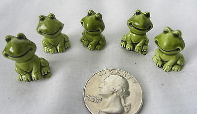 Miniature Dollhouse Fairy Garden Tiny Green Toad Frogs Set Of 5 Ceramic Figurine