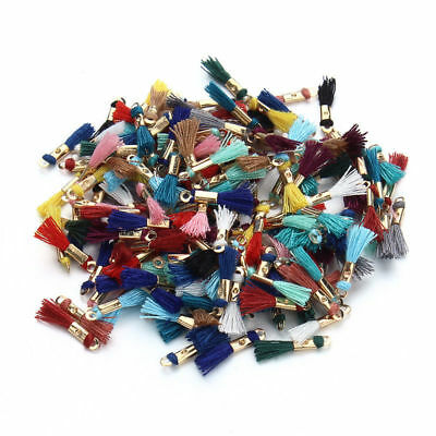 100pcs/lot Mix Colors 16MM Silk Tassels Gold Cap Charms Fit Earring For Keychain