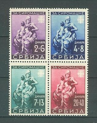 Serbia German Occupation 1942 Wwii - For The Poor People Mi. 82/85 Mlh Set Block