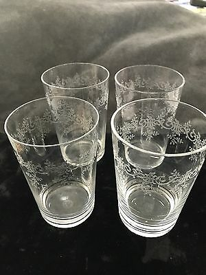 Antique Baccarat Crystal Etched Tumblers  Set Of 4