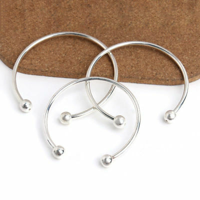 60/65/70mm Adjustable Cuff Bracelets Blank Silver Plated Open Charm Wire Bangle
