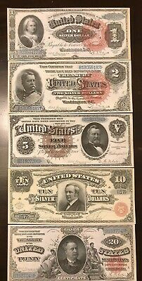 Reproduction Set 1886 Silver Certificates USA Currency Copies