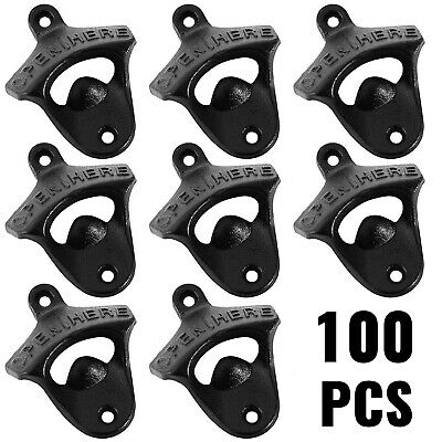 100 BLACK Rustic Open Here Cast Iron Wall Mount Beer Bottle Openers Soda Opener