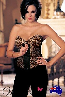 NEW Shirley Of Hollywood Reversible Corset Top Leopard/Black Red, Wild Secrets