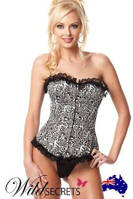 NEW Showtime by Shirley Floral Motif Corset, Womens Sexy Lingerie, Wild Secrets