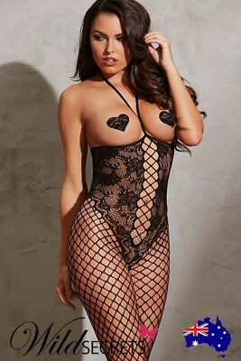 NEW Dreamgirl Lace & Fishnet Exposed Bust Bodystocking, Womens Sexy Lingerie