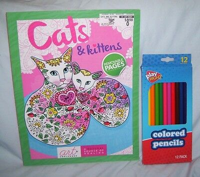 Cats And Kittens Art Unplugged 2016 PB Adult Coloring Book Journal 12 Pencils