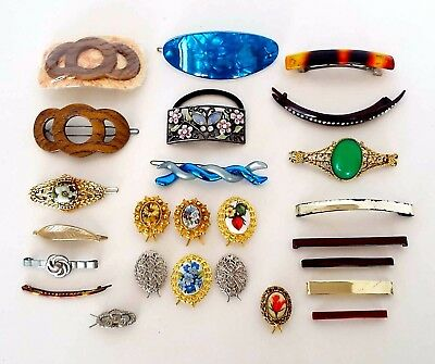 25 Piece Estate Lot Vintage Hair Barrettes Clips Bands France Art Deco Retro