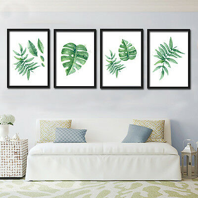 UK STOCK Nordic Green Plant Leaf Canvas Art Poster Print Wall Picture Home Decor