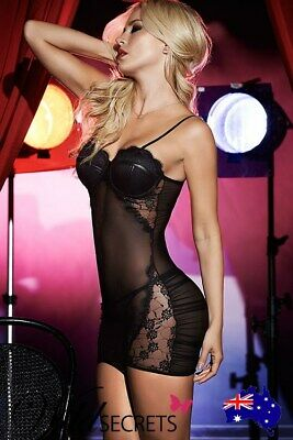 NEW Mapale by Espiral Irresistible Chemise with G-String BLACK, Babydoll/Chemise