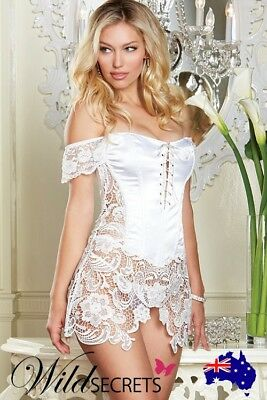 NEW Dreamgirl Satin Corset with Thong PEARL, Womens Sexy Lingerie, Wild Secrets