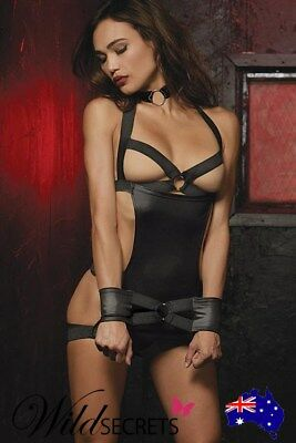 NEW Dreamgirl Wet-Look Chemise with Restraints & Thong, Babydoll/Chemise