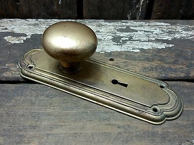 VTG Antique Old Shabby Gold Painted Rustic Threaded Door Knob & Metal Backplate