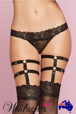 NEW Seven Til Midnight Leg Harness Garters BLACK, Womens Sexy Lingerie