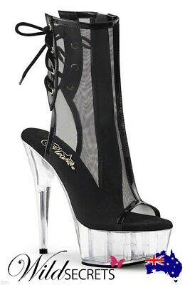 "d221c0b5288 NEW Pleaser 6"" Heel Black Ankle Boots"
