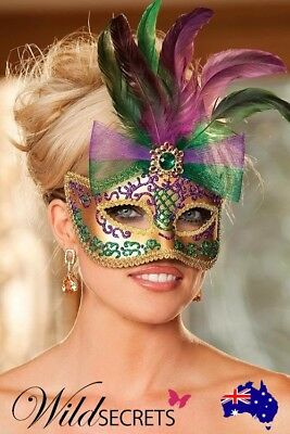 NEW Shirley Of Hollywood Gold Mask with Feathers & Glitter Accent, Fun Stuff