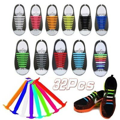 32pcs Easy No Tie Shoelaces Elastic Silicone Flat Shoe Lace Set for Kids Adult