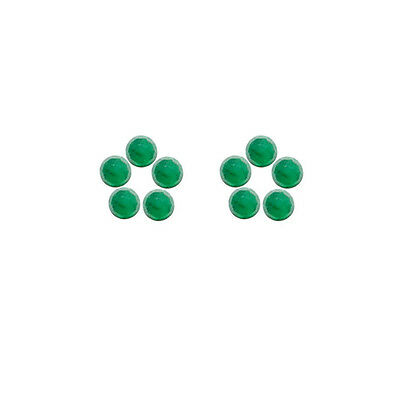 5x5mm 10pc Rose Cut Faceted Cabochon Natural Green Emerald Loose Gems
