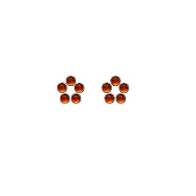 4x4mm 10pc Fine Quality Rose Cut Faceted Cabs Natural Hessonite Garnet