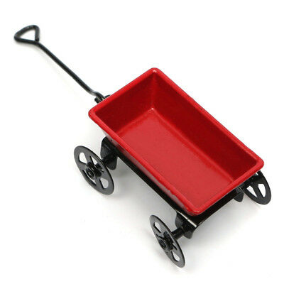 Red Miniature Metal Pulling Cart Dollhouse Ornament Home Decor Garden Furniture