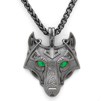 Unique Ancient Celtic Silver Nordic Viking Wolf Head Pendant Talisman Necklace