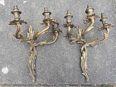 Pair Of Stunning Antique Louis XV Style Gilt Cast Brass Sconces