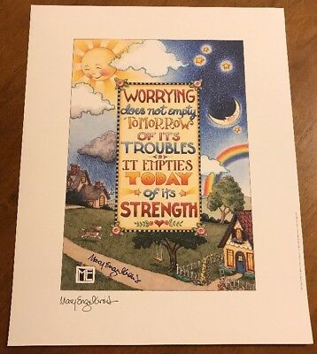 """Mary Engelbreit Hand Signed """"Worrying"""" Print Poster ME Artist Autograph Auto"""