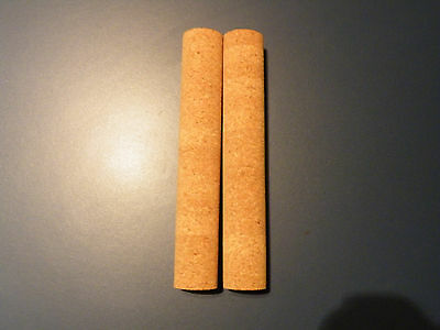 """2 Agglomerated Cork Sticks/handle/grips 7.5""""x1 1/8""""  Large Grain  Bore 1/4"""""""