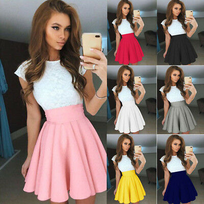 FT- Women's Stretch High Waist Skater Flared Pleated Party Mini Skirts Dress Sal