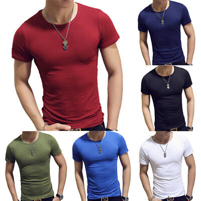 Mens Boys Round Neck Cotton T-shirt Slim Fit Short Sleeve Solid Color Tee Top