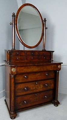 Fine Early 19th Century Figured Mahogany Dressing Chest Of Drawers